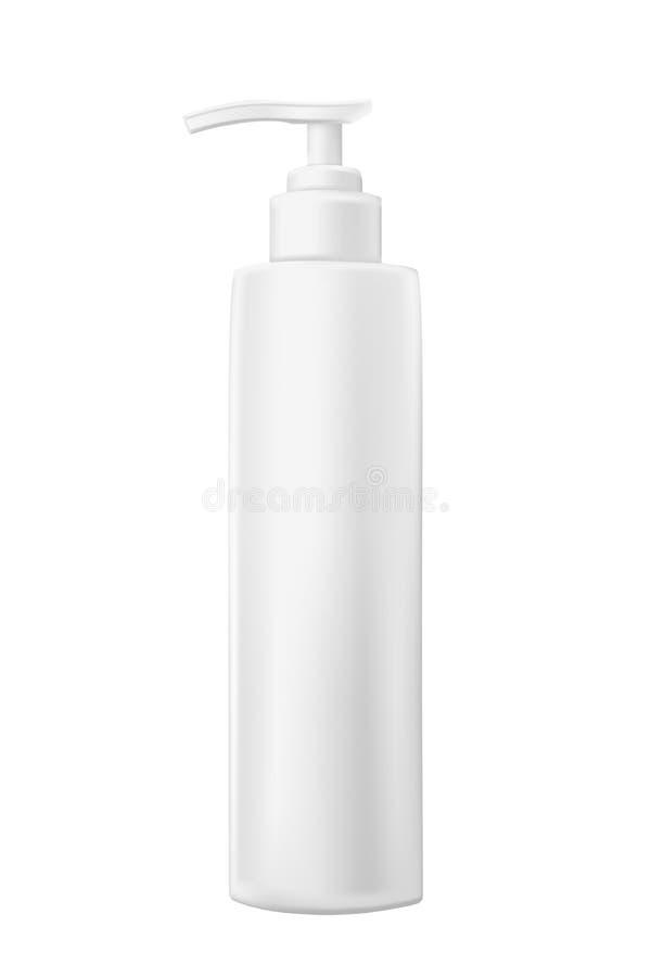 Ρεαλιστικό άσπρο πρότυπο του πλαστικού μπουκαλιού με το διανομέα για τα des ελεύθερη απεικόνιση δικαιώματος