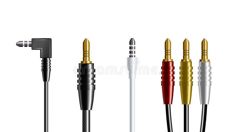 Ρεαλιστικό ακουστικό διάνυσμα βουλωμάτων ακουστικών συνδετήρων απεικόνιση αποθεμάτων