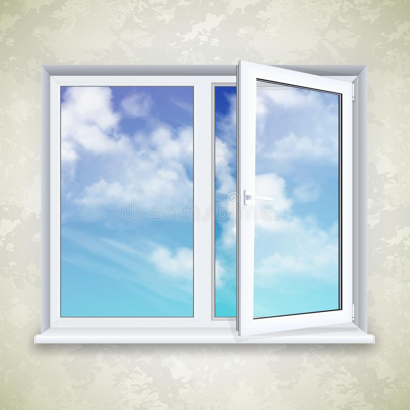 Ρεαλιστικό ανοικτό πλαστικό παράθυρο απεικόνιση αποθεμάτων