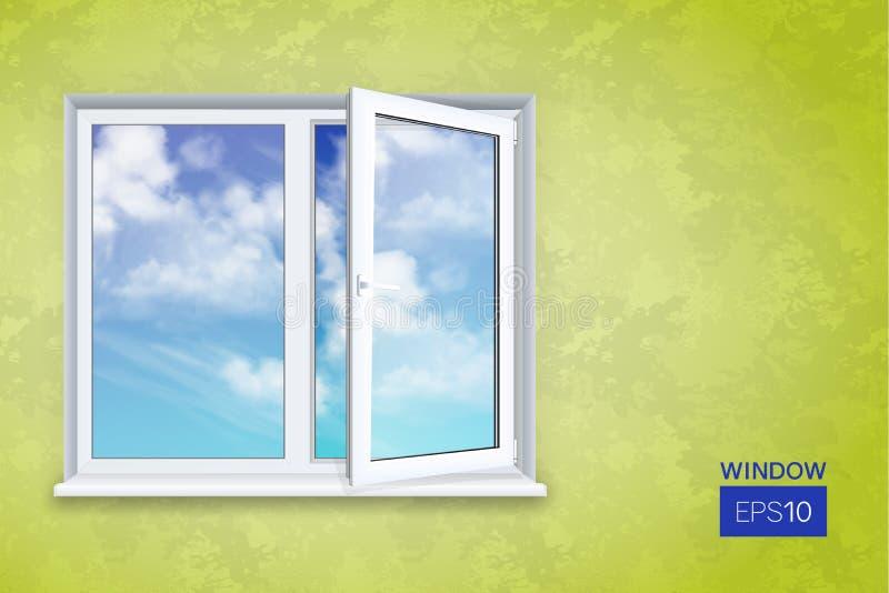 Ρεαλιστικό ανοικτό πλαστικό παράθυρο ελεύθερη απεικόνιση δικαιώματος