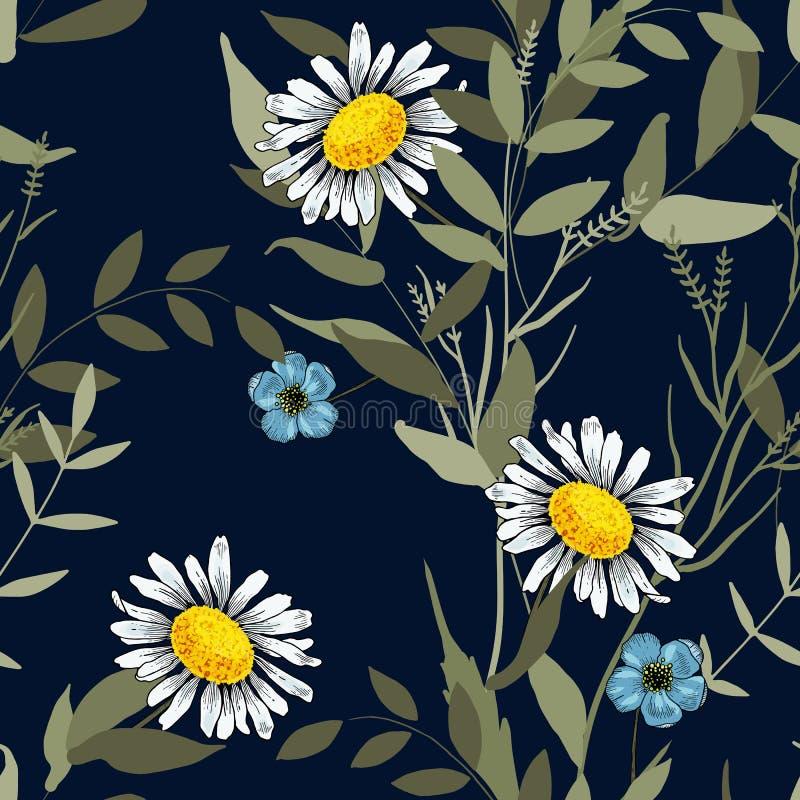 Ρεαλιστικό απομονωμένο άνευ ραφής σχέδιο λουλουδιών εκλεκτής ποιότητας σύνολο Wallpap απεικόνιση αποθεμάτων
