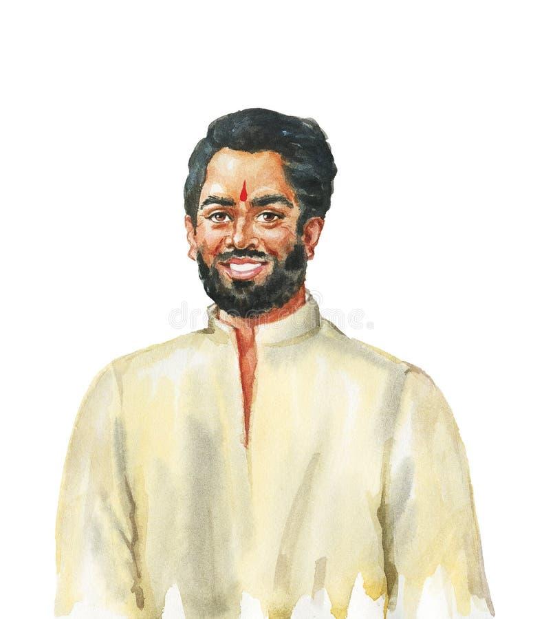 Ρεαλιστικό αρσενικό πορτρέτο Watercolor ελεύθερη απεικόνιση δικαιώματος
