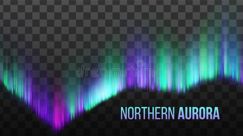 Ρεαλιστικό βόρειο ελαφρύ διάνυσμα ατμόσφαιρας αυγής απεικόνιση αποθεμάτων