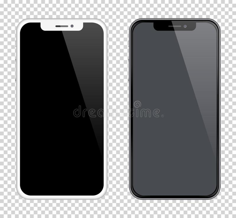 Ρεαλιστικό γραπτό χρώμα προτύπων smartphones Διανυσματική απεικόνιση αποθεμάτων για την εκτύπωση που διαφημίζει, στοιχείο Ιστού ελεύθερη απεικόνιση δικαιώματος