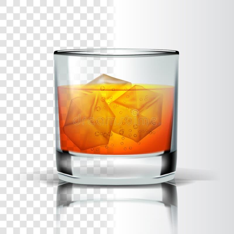 Ρεαλιστικό γυαλί με το διάνυσμα κύβων μπέρμπον και πάγου διανυσματική απεικόνιση