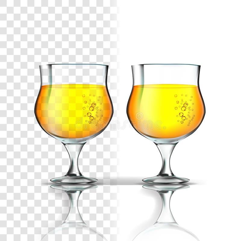 Ρεαλιστικό γυαλί με το διάνυσμα μηλίτη ή μπύρας της Apple διανυσματική απεικόνιση