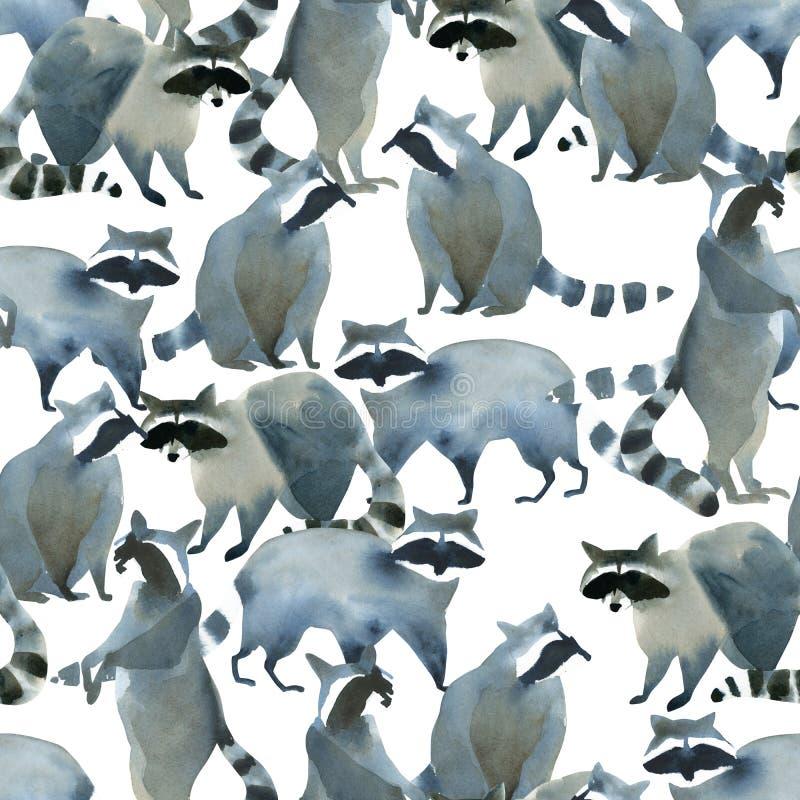 Ρεαλιστικό δασικό ζωικό σκίτσο Watercolor Σχέδιο Seamles για πολλά από τα ρακούν απεικόνιση αποθεμάτων