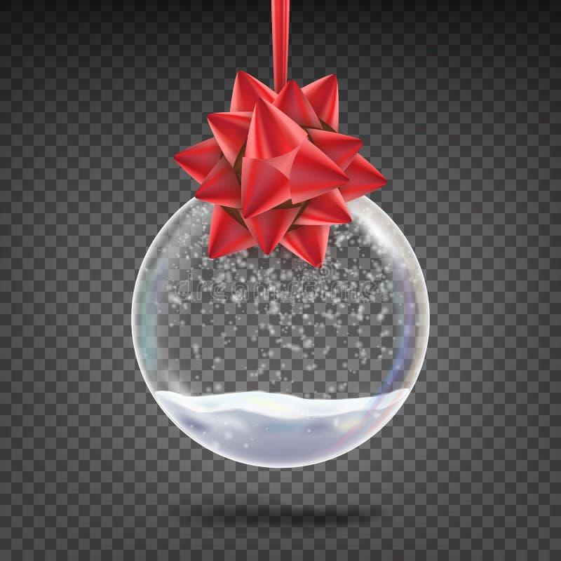 Ρεαλιστικό διάνυσμα σφαιρών Χριστουγέννων Λαμπρό παιχνίδι δέντρων διακοπών Χριστουγέννων γυαλιού με Snowflake και το κόκκινο τόξο διανυσματική απεικόνιση