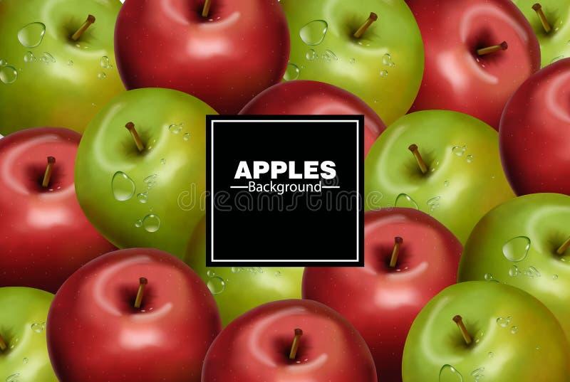Ρεαλιστικό διάνυσμα υποβάθρου μήλων Κόκκινα και πράσινα εμβλήματα φρούτων απεικόνιση αποθεμάτων