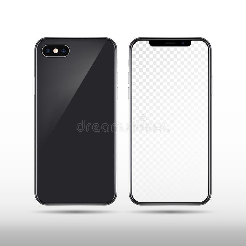 Ρεαλιστικό διανυσματικό νέο smartphone που απομονώνεται Σύγχρονο κινητό τηλεφωνικό πρότυπο διανυσματική απεικόνιση