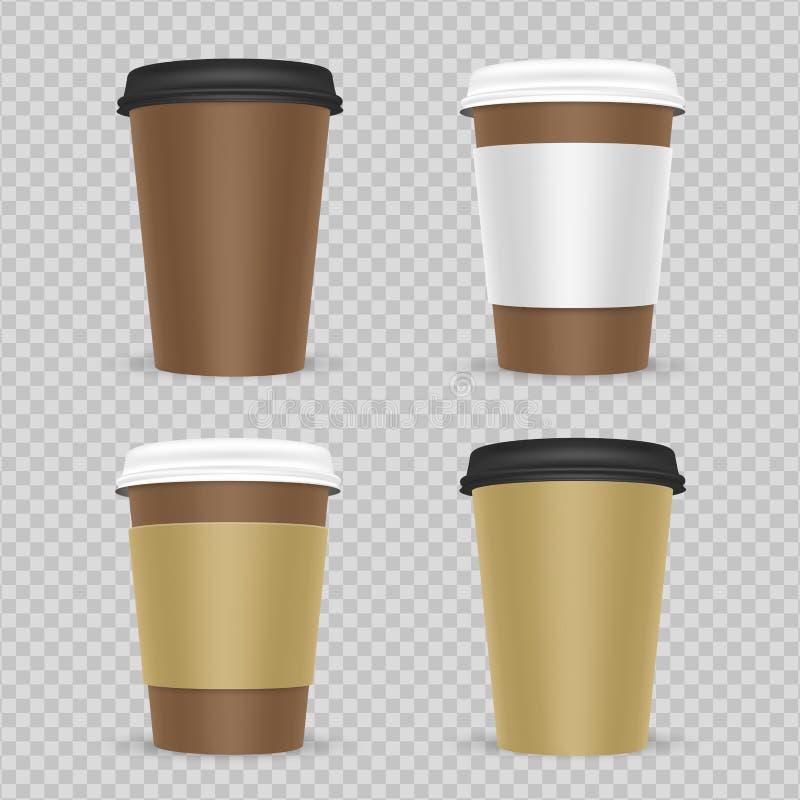 Ρεαλιστικό διανυσματικό σύνολο φλυτζανιών καφέ ή τσαγιού εγγράφου απεικόνιση αποθεμάτων