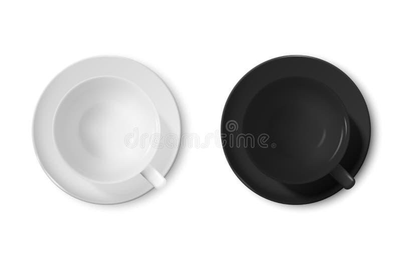 Ρεαλιστικό διανυσματικό τρισδιάστατο στιλπνό κενό άσπρο και μαύρο φλυτζάνι καφέ ή καθορισμένη κινηματογράφηση σε πρώτο πλάνο εικο ελεύθερη απεικόνιση δικαιώματος