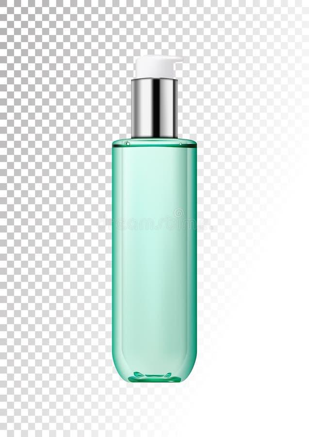 Ρεαλιστικό διαφανές πλαστικό μπουκάλι με το διφασικό καλλυντικό προϊόν με το διανομέα αντλιών Συσκευασία για το τονωτικό, λοσιόν διανυσματική απεικόνιση