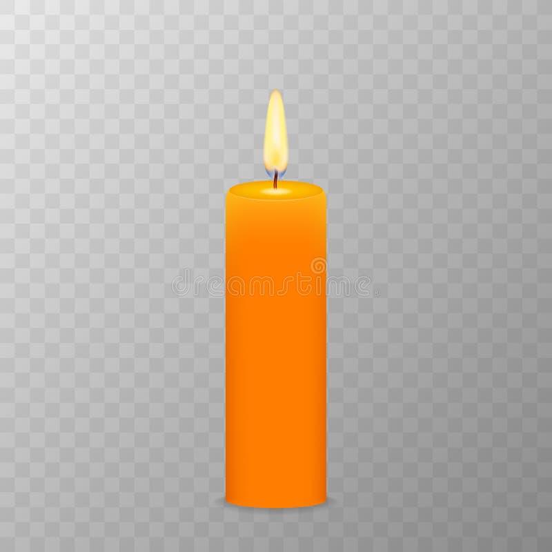 Ρεαλιστικό καίγοντας κερί Πλέγμα διαφάνειας r διανυσματική απεικόνιση