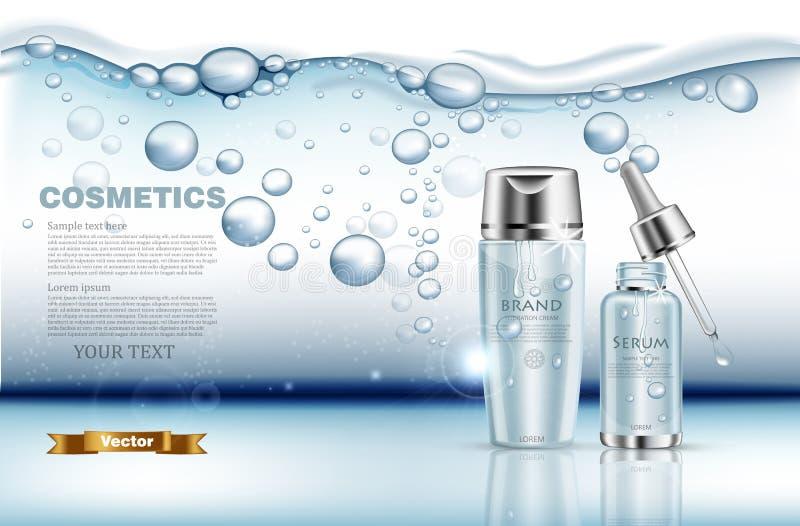 Ρεαλιστικό καθορισμένο διάνυσμα ορών και λοσιόν νερού Χλεύη συσκευασίας προϊόντων επάνω Μπλε ασημένια μπουκάλια Υποβρύχιος παφλασ ελεύθερη απεικόνιση δικαιώματος