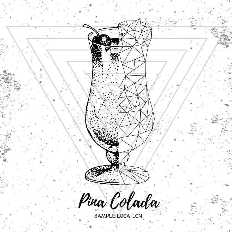 Ρεαλιστικό και polygonal colada pina κοκτέιλ Hipster απεικόνιση αποθεμάτων
