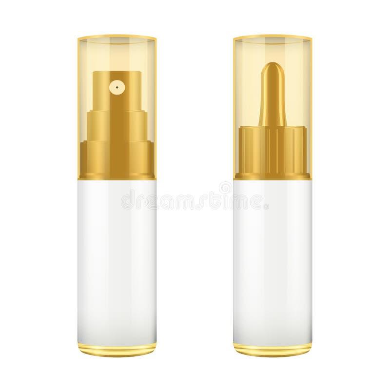 Ρεαλιστικό καφετί και άσπρο μπουκάλι με το χρυσό καπάκι Χλεύη επάνω του καλλυντικού βάζου ψεκασμού Καλλυντικό φιαλίδιο, φιάλη, άρ διανυσματική απεικόνιση