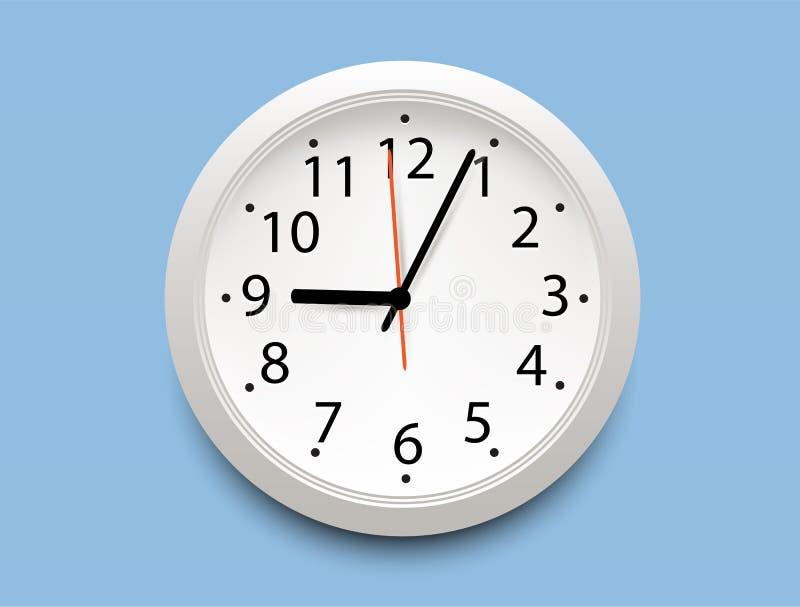Ρεαλιστικό κλασικό άσπρο στρογγυλό εικονίδιο ρολογιών τοίχων στο μπλε υπόβαθρο ελεύθερη απεικόνιση δικαιώματος