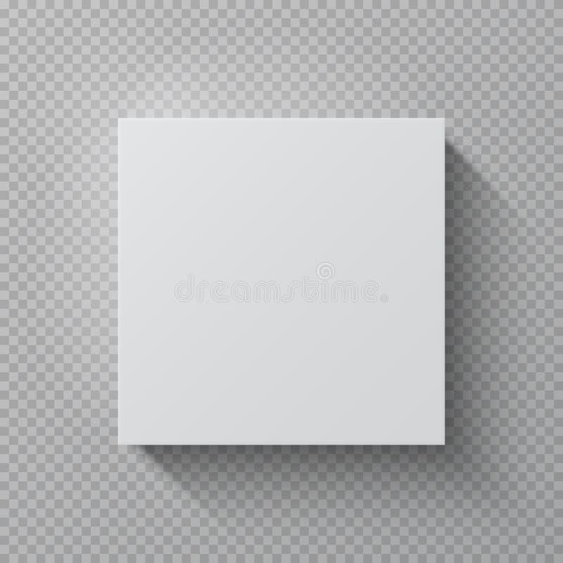 Ρεαλιστικό κουτί από χαρτόνι Τετραγωνική άσπρη συσκευασία εγγράφου προτύπων, τοπ άποψης κενό χαρτονιού δώρων πρότυπο σχεδίου πακέ ελεύθερη απεικόνιση δικαιώματος