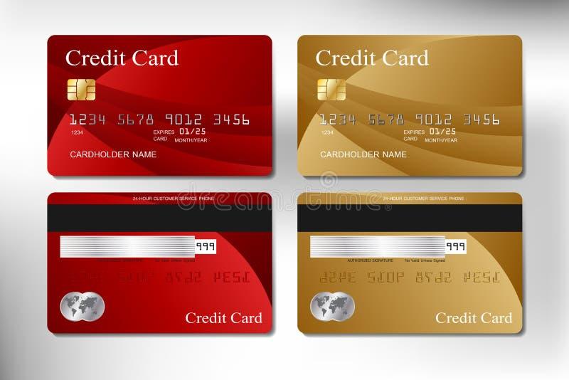 Ρεαλιστικό κόκκινο και χρυσό διανυσματικό σχέδιο πιστωτικών καρτών διανυσματική απεικόνιση