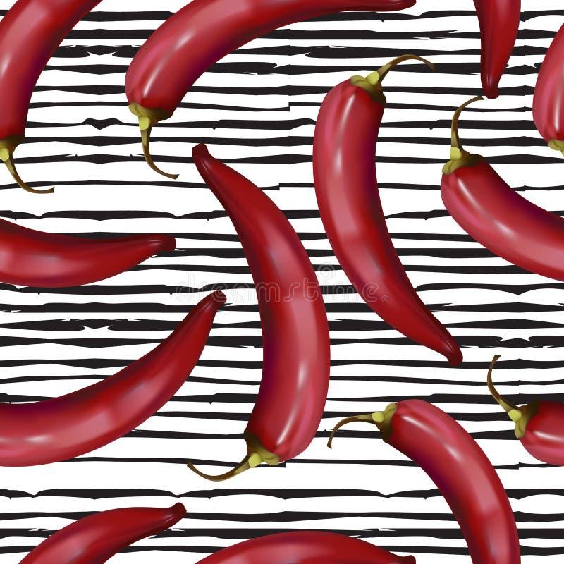 Ρεαλιστικό κόκκινο - καυτό άνευ ραφής σχέδιο πιπεριών τσίλι στο υπόβαθρο γραμμών doodle ελεύθερη απεικόνιση δικαιώματος