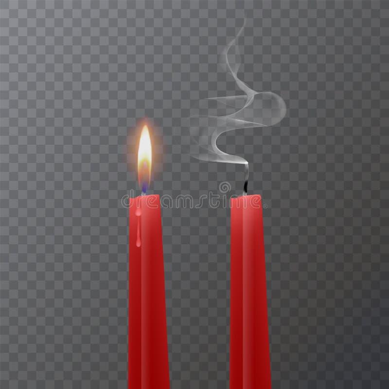 Ρεαλιστικό κόκκινο κερί, καίγοντας κόκκινο κερί και ένα εκλείψας κερί στο σκοτεινό υπόβαθρο, διανυσματική απεικόνιση ελεύθερη απεικόνιση δικαιώματος