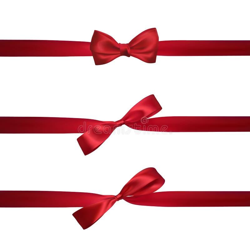 Ρεαλιστικό κόκκινο τόξο με τις οριζόντιες κόκκινες κορδέλλες που απομονώνεται στο λευκό Στοιχείο για τα δώρα διακοσμήσεων, χαιρετ ελεύθερη απεικόνιση δικαιώματος