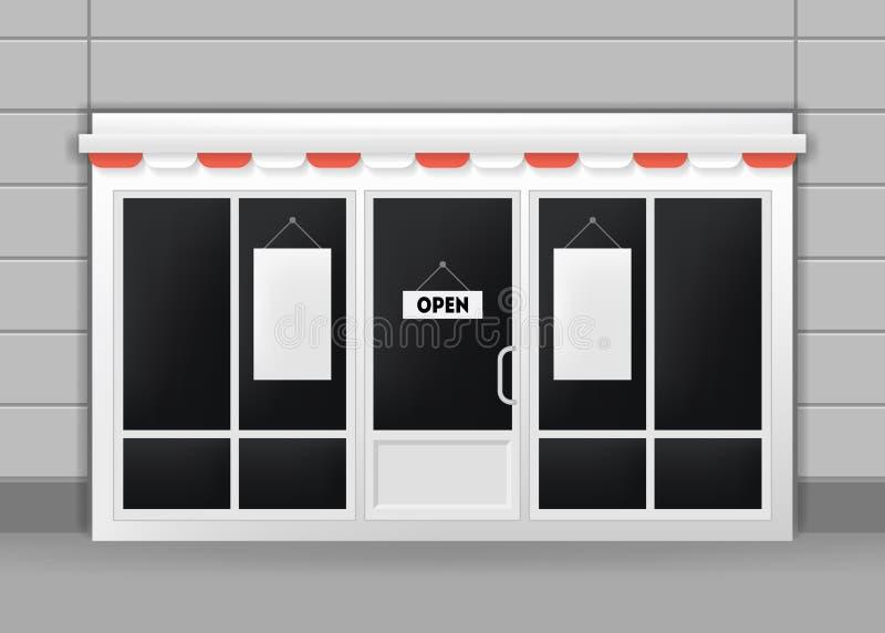 Ρεαλιστικό λεπτομερές τρισδιάστατο εξωτερικό των πορτών εστιατορίων, καφέδων ή καταστημάτων διάνυσμα ελεύθερη απεικόνιση δικαιώματος