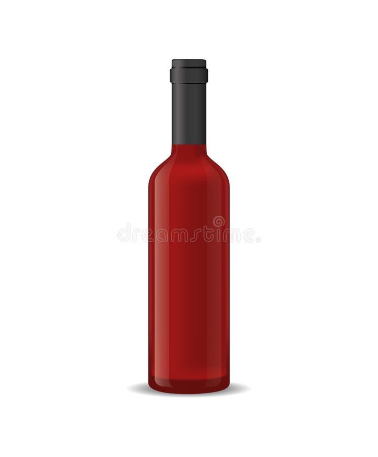 Ρεαλιστικό λεπτομερές τρισδιάστατο μπουκάλι κόκκινου κρασιού που απομονώνεται σε ένα άσπρο υπόβαθρο διάνυσμα απεικόνιση αποθεμάτων
