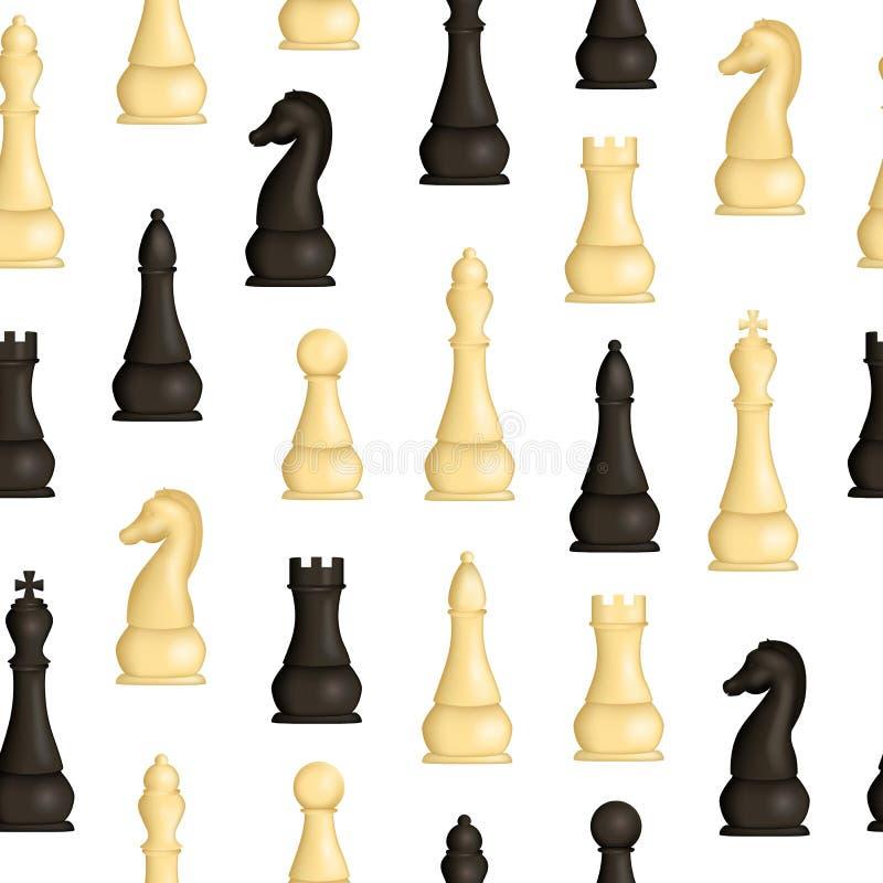 Ρεαλιστικό λεπτομερές τρισδιάστατο ξύλινο σκακιού υπόβαθρο σχεδίων κομματιών άνευ ραφής διάνυσμα ελεύθερη απεικόνιση δικαιώματος
