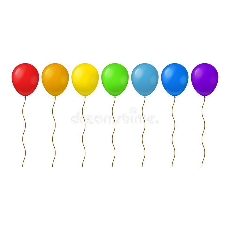Ρεαλιστικό λεπτομερές τρισδιάστατο σύνολο υπόλοιπου κόσμου μπαλονιών χρώματος διάνυσμα ελεύθερη απεικόνιση δικαιώματος