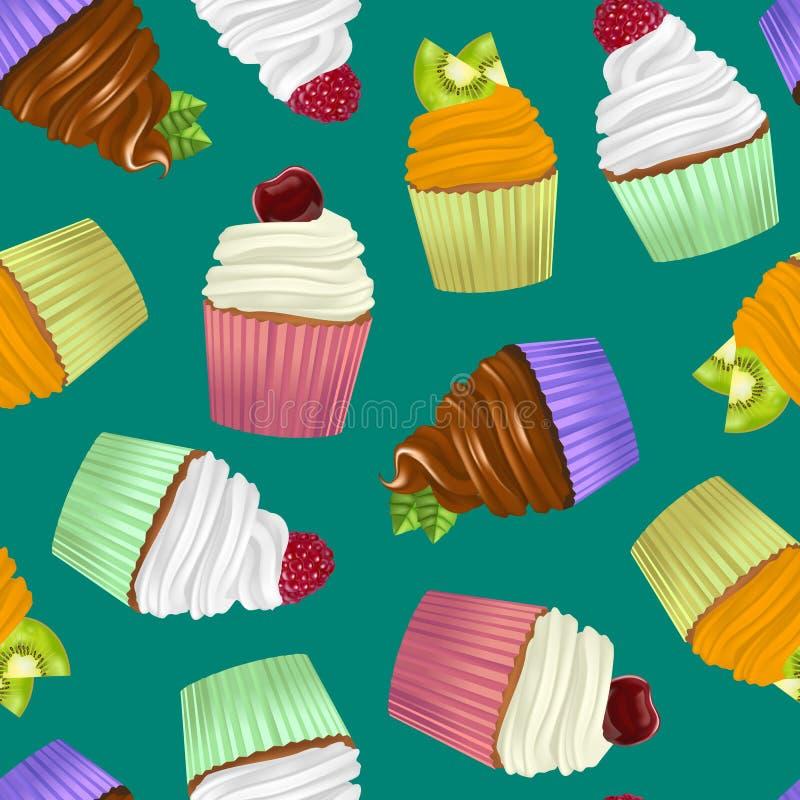 Ρεαλιστικό λεπτομερές τρισδιάστατο υπόβαθρο σχεδίων Cupcakes άνευ ραφής διάνυσμα διανυσματική απεικόνιση