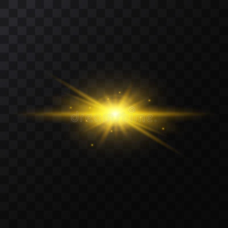 Ρεαλιστικό λεπτομερές τρισδιάστατο χρυσό ελαφρύ σπινθήρισμα αστεριών διάνυσμα ελεύθερη απεικόνιση δικαιώματος