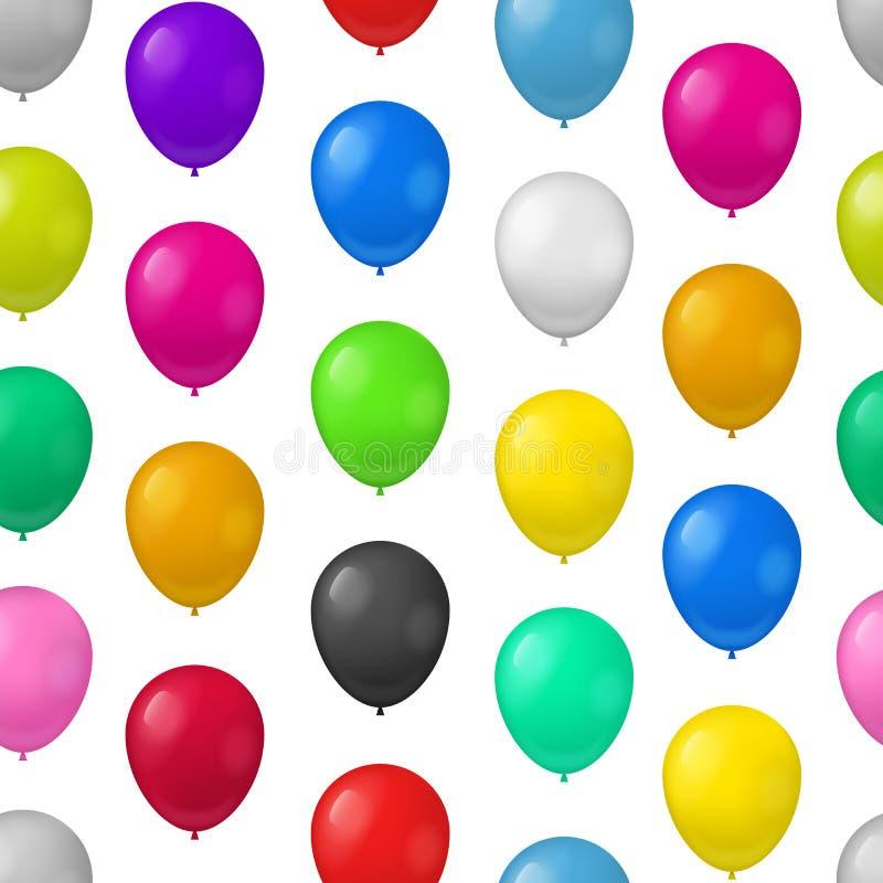 Ρεαλιστικό λεπτομερές τρισδιάστατο χρώματος υπόβαθρο σχεδίων μπαλονιών άνευ ραφής διάνυσμα απεικόνιση αποθεμάτων