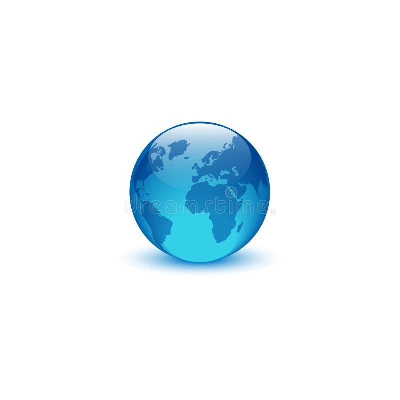 Ρεαλιστικό λογότυπο σφαιρών γυαλιού, δημιουργικός πλανήτης Γη συμβόλων eco ιδέας, παγκόσμιο εικονίδιο περιβάλλοντος ελεύθερη απεικόνιση δικαιώματος