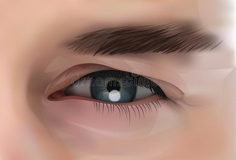 Ρεαλιστικό μάτι της καυκάσιας αρσενικής κινηματογράφησης σε πρώτο πλάνο προσώπων ελεύθερη απεικόνιση δικαιώματος