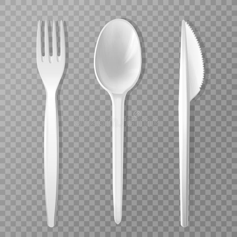 ρεαλιστικό μίας χρήσης κουτάλι μαχαιριών δικράνων διανυσματική απεικόνιση