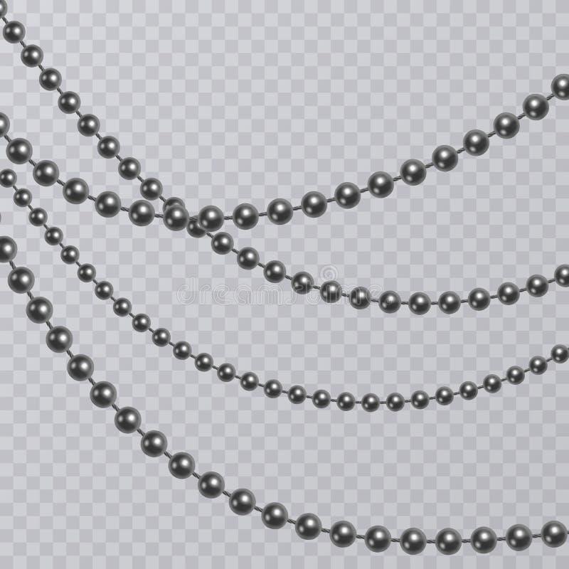 Ρεαλιστικό μαύρο μαργαριτάρι στο διαφανές υπόβαθρο, μαύρες χάντρες, διανυσματική απεικόνιση ελεύθερη απεικόνιση δικαιώματος