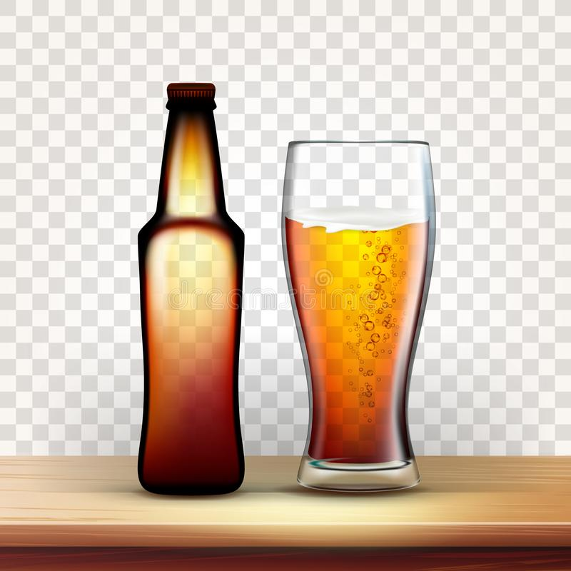 Ρεαλιστικό μπουκάλι και πλήρες γυαλί του κόκκινου διανύσματος μπύρας απεικόνιση αποθεμάτων