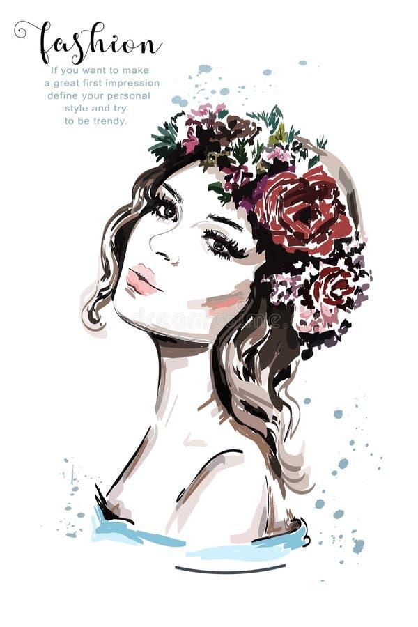 Ρεαλιστικό πορτρέτο γυναικών Συρμένη χέρι όμορφη νέα γυναίκα με το στεφάνι λουλουδιών τρίχας διανυσματική απεικόνιση