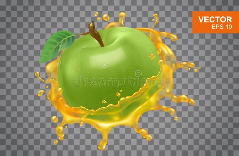 Ρεαλιστικό πράσινο μήλο με τον ψεκασμό της διανυσματικής απεικόνισης χυμού μήλων στο απομονωμένο υπόβαθρο απεικόνιση αποθεμάτων
