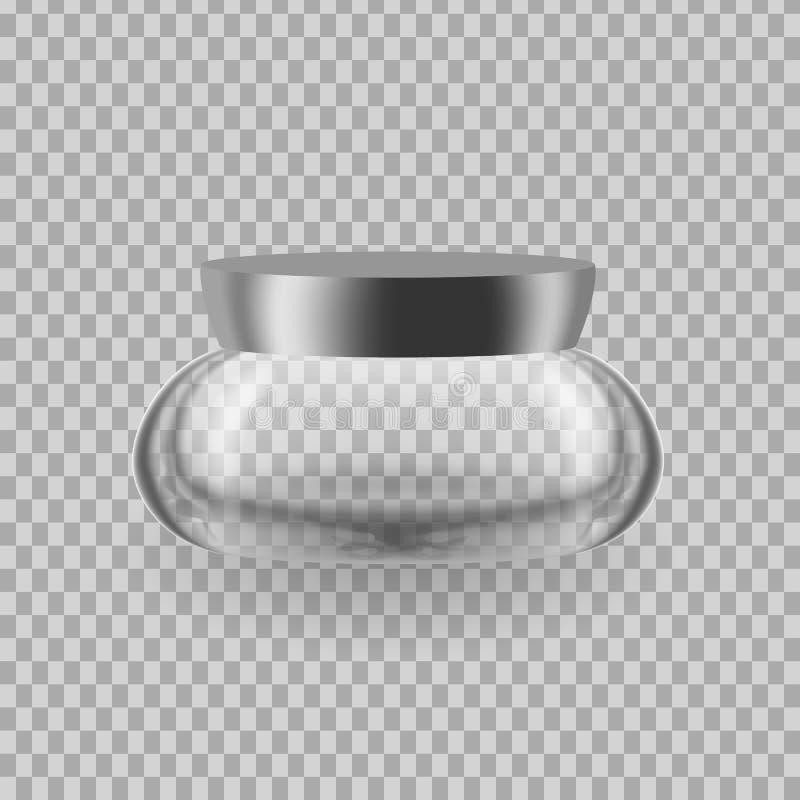 Ρεαλιστικό πρότυπο, πρότυπο της ευώδους κρέμας μπουκαλιών Καλλυντικό πρότυπο αγγελιών διανυσματική απεικόνιση
