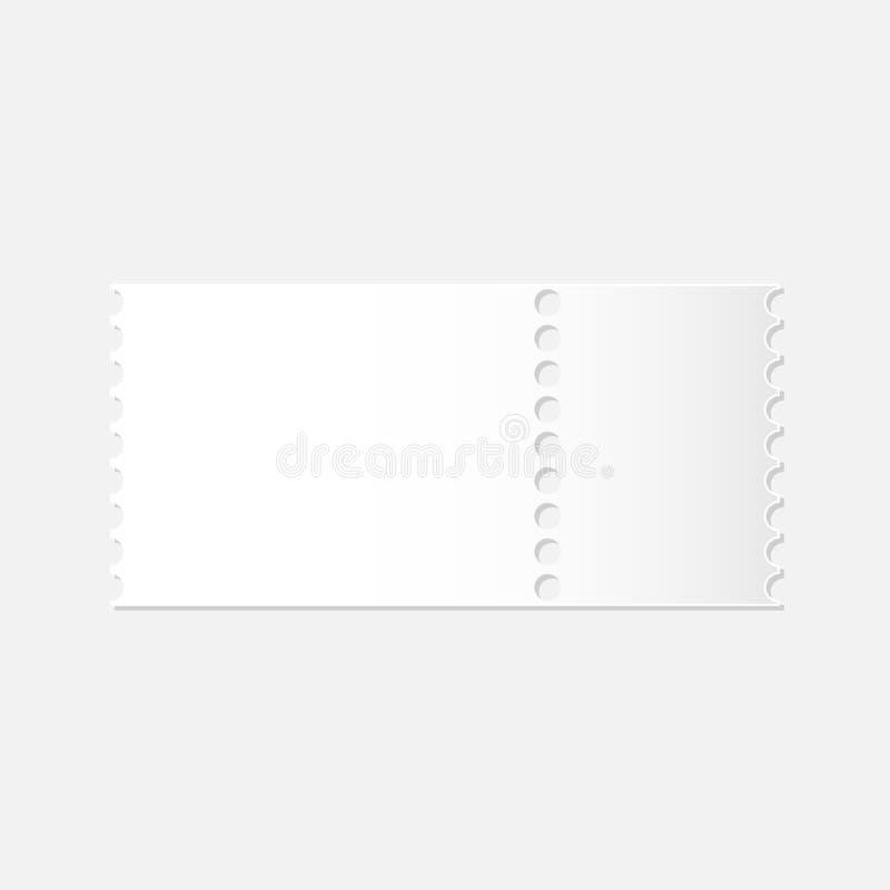 Ρεαλιστικό πρότυπο του αποσπάσιμου κενού άσπρου εισιτηρίου απεικόνιση αποθεμάτων