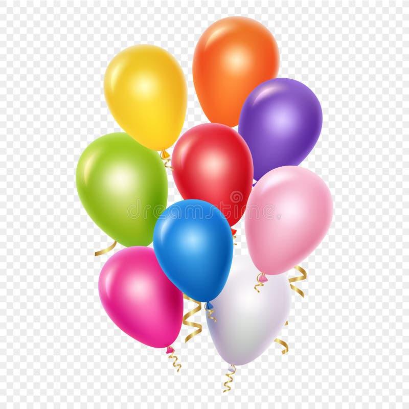 Ρεαλιστικό πρότυπο υποβάθρου μπαλονιών διανυσματικό Μπαλόνια και χρυσές κορδέλλες που απομονώνονται στο διαφανές υπόβαθρο ελεύθερη απεικόνιση δικαιώματος