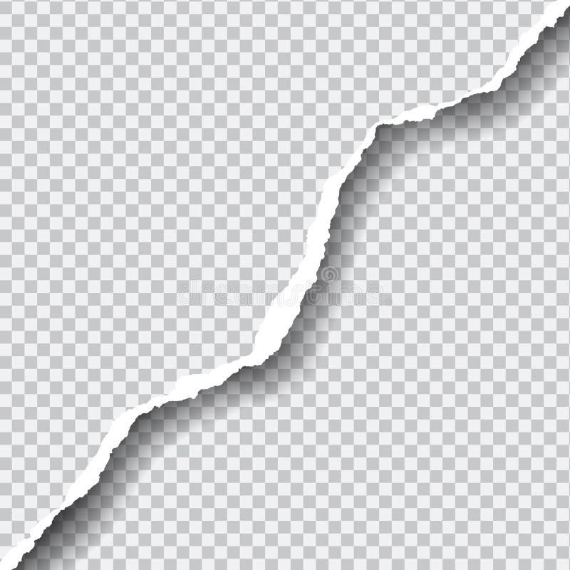 Ρεαλιστικό σχισμένο διάνυσμα έγγραφο με το διάστημα για το κείμενό σας στο transp στοκ εικόνες