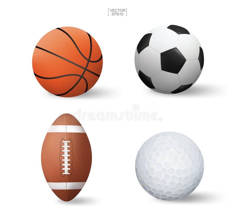 Ρεαλιστικό σύνολο αθλητικών σφαιρών Καλαθοσφαίριση, ποδόσφαιρο ποδοσφαίρου, αμερικανικό ποδόσφαιρο και γκολφ απεικόνιση αποθεμάτων