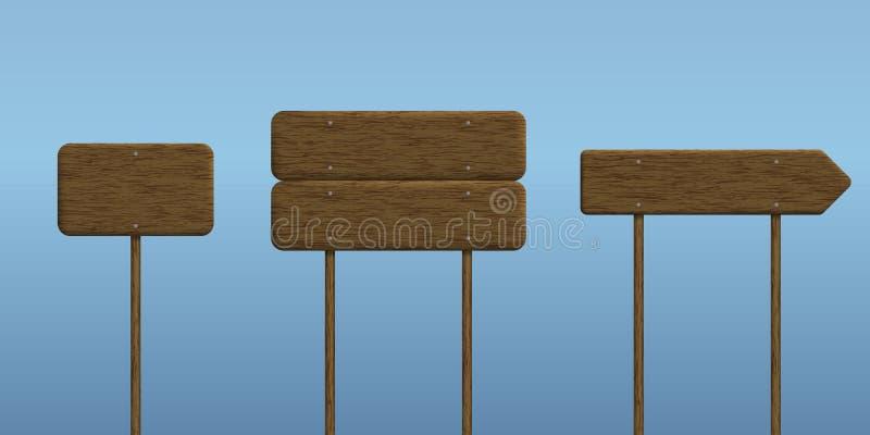 Ρεαλιστικό σύνολο απεικόνισης ξύλινου σημαδιού σε ένα ραβδί με ένα μπλε απεικόνιση αποθεμάτων