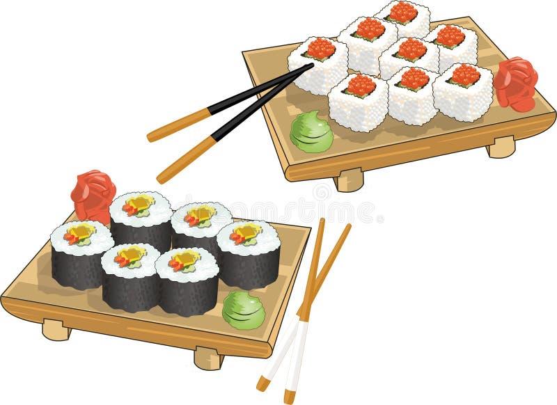 Ρεαλιστικό σύνολο εικόνων σουσιών και ρόλου με chopsticks ελεύθερη απεικόνιση δικαιώματος