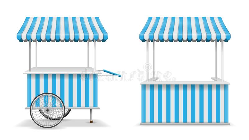 Ρεαλιστικό σύνολο περίπτερου και κάρρου τροφίμων οδών με τις ρόδες Κινητό μπλε πρότυπο στάβλων αγοράς Πρότυπο καταστημάτων περίπτ απεικόνιση αποθεμάτων