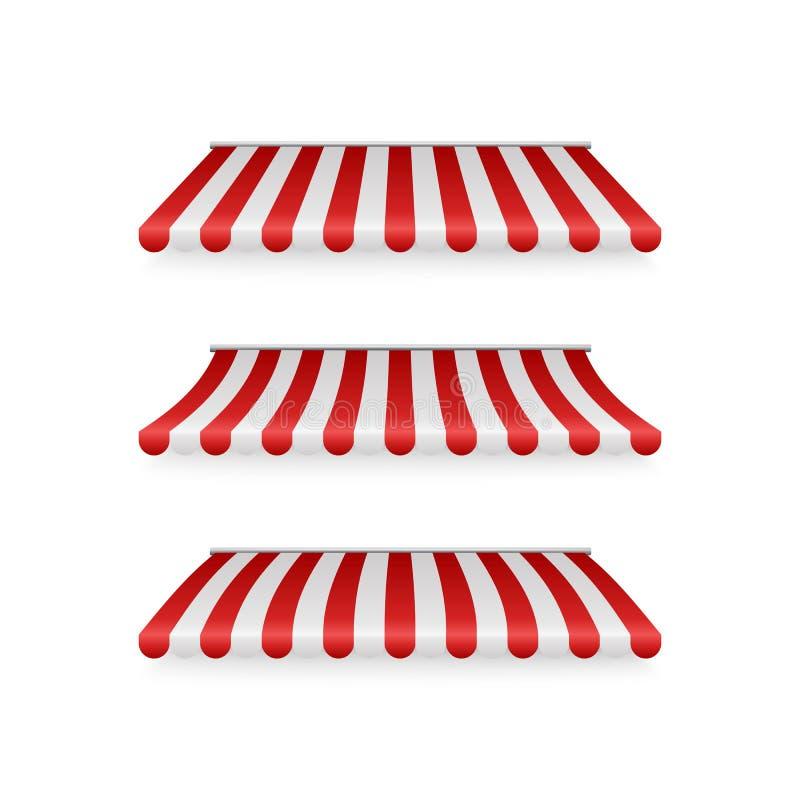 Ρεαλιστικό σύνολο ριγωτοί κόκκινοι και άσπροι awnings Σκηνές ή υφαντικές στέγες για το λιανικό κατάστημα Απεικόνιση που απομονώνε ελεύθερη απεικόνιση δικαιώματος